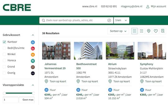 Nieuwe website met zakelijk vastgoed